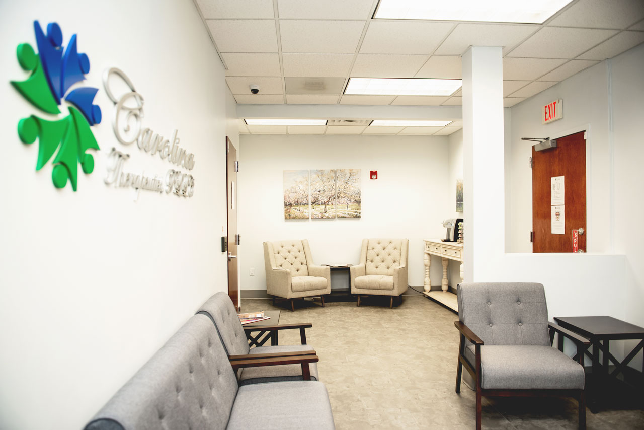 Waiting room with numerous seating options at Carolina Therapeutics Fort Mill SC office