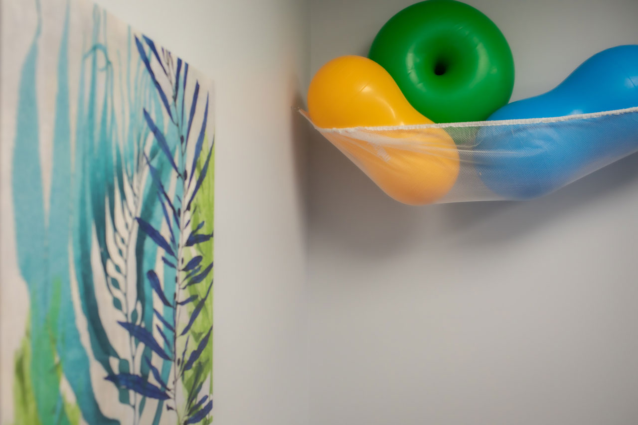 Carolina Therapeutics Greenville, NC therapy room with orange, green and blue balls