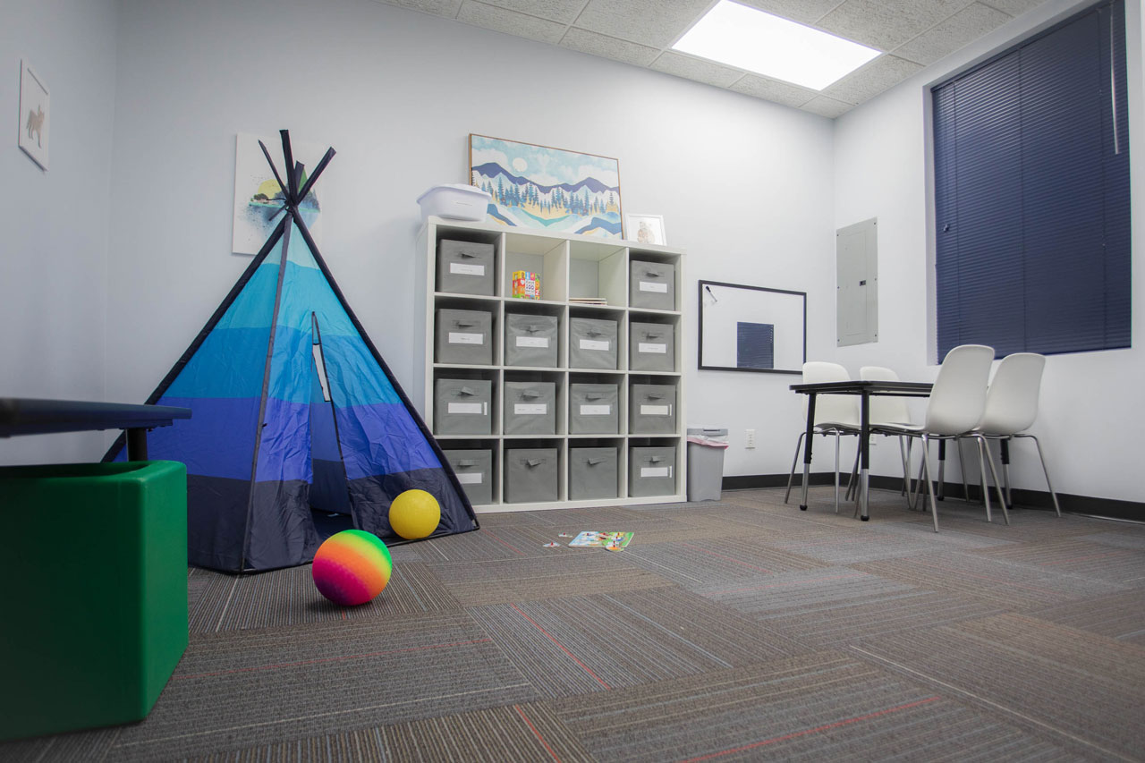 Professional therapy treatment room with white shelves contain grey containers and black & blue tent sitting on grey carpet
